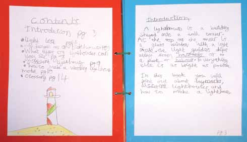 A strikingly professionally-produced guide to lighthouses, with index, introduction, glossary and construction guide, produced by a year 4 pupil