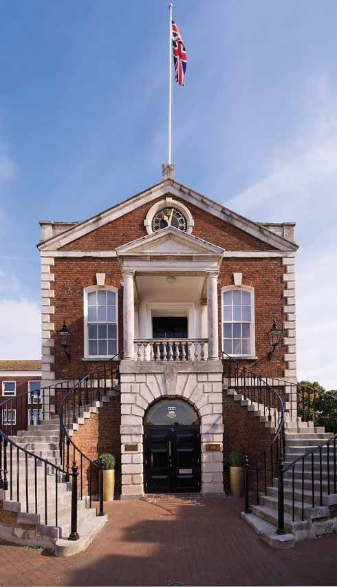 The 1761 Guildhall (above) is one of Poole Old Town's loveliest buildings