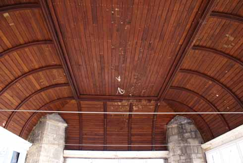 ...refreshed wooden interior ceiling...