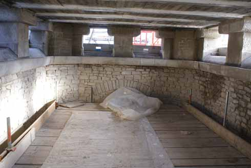 ...and, on the floor below, the original (in every sense of the word) interior stone guttering and downpipes.