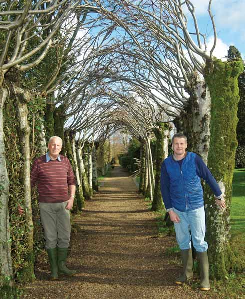 Gardeners Mark Eavis (right) and David Bishop by the Lime Walk