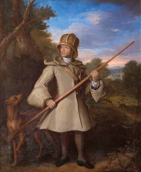 Attr. Robert Byng (fl.1697-1720) Harry Good, Deer Catcher  oil on canvas, early 18th century
