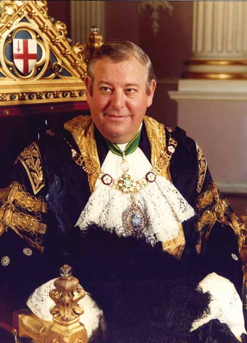 Sir Anthony Jolliffe GBE in his black and gold robes as Lord Mayor of London in 1982