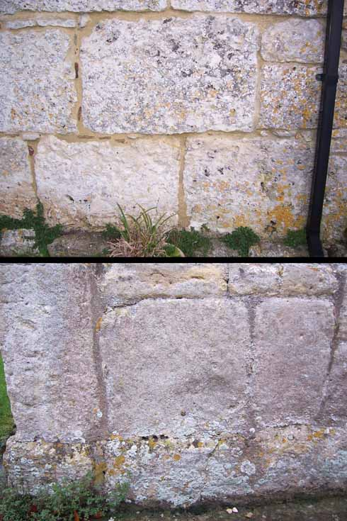 These pictures of Beauvoir Court, and of the 8th-century St Lawrence's Church in Bradford-on-Avon, show the similarity of masonry techniques and stone size