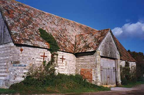 According to Pevsner, some of this banded flint-and-stone barn's roof trusses were possibly recycled from the dissolved Milton Abbey in the 16th century