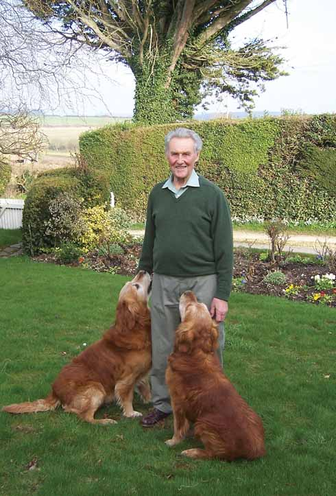 Don at home today, with golden retrievers Spruce and Shadow