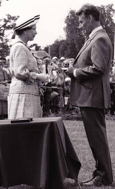 Receiving a Long Service Medal, from HM The Queen, at the Game Fair at Stratfield Saye in 1989