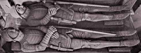 The tomb of the two Sir John Horseys in Sherborne Abbey, built soon after 1565, shows them looking like twins, rather than father and son. Their armour is based on that current in 1470, but enriched with neat decoration.
