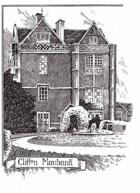 The south front of the surviving wing at Clifton Maybank with the 18th-century sash windows admired by Hutchins, but otherwise mid 16th century with clasping pillars and pretty parapet. Engraving of about 1900.