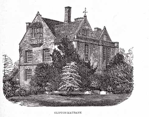 The west front of Clifton Maybank with a pretty oriel window reset from the original house. This façade is 18th century, built after the demolition of the main block. Engraving of 1888.