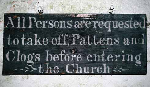 Church sign in porch