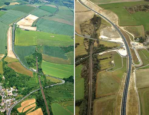 The gracious sweep of the new Weymouth relief road ( right) compared with its predecessor and infamous hairpin bend (left)