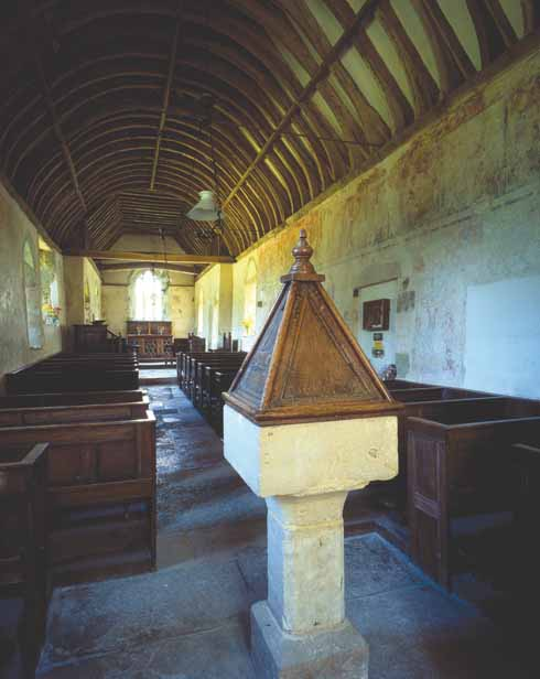 Below A small monastery is thought to have been founded in Tarrant Crawford by Ralph de Kahaines (whence Tarrant Keyneston). The current church of St Mary's post-dates that monastery (and subsequent nunnery), but contains some wonderful 14th-century wall paintings, rediscovered 100 years ago this year.