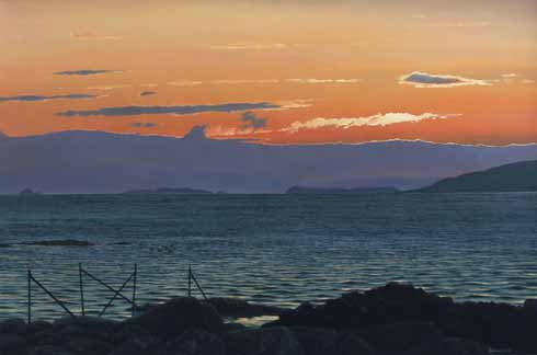 Early morning, across Pabbay Sound. Oil,  24 x 36 inches.