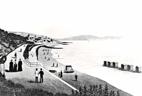This rather strange print, looking along The Walk, was drawn – in Germany! –  from a photograph in the 1890s; it was copied from a postcard in the 1970s by a Lyme Regis turf accountant. Courtesy Lyme Regis Philpot Museum