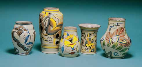 Classic Poole Pottery from the early 1930s, showing the geometric and floral designs so typical of the Art Deco period. All of these pieces were designed by Truda Carter. From Poole Pottery by Leslie Hayward, edited by Paul Atterbury and published by Richard Dennis Publications