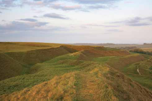 The impressively-constructed Iron-Age ramparts of Maiden Castle