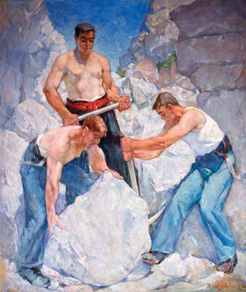 Dorset Quarrymen, 1940 Fascinated by their expertise and strength the quarrymen became the subject of some of Palmer's finest paintings, shown here. The men are shown at their work, with muscles straining under the effort of working the huge blocks of stone. One of the quarrymen, Victor Bower, who came from a long established Dorset family, sometimes helped Palmer with these imposing compositions.
