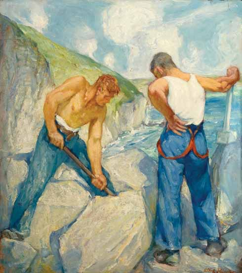Purbeck Quarrymen, 1940s  Palmer was also inspired by local quarrymen he met. He made numerous sketches of them, often on the spot at the now abandoned Seacombe quarry, Worth Matravers.