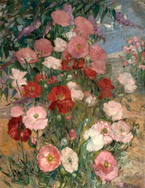 Poppies, 1940 As a powerful colourist, Palmer's painting of poppies appears deceptively simple. Yet the vibrant explosion of pinks and reds reveals the individual and sensitive way he has responded to nature all around him. Commemorated in Swanage's Art Trail, Palmer's own words reveal, 'I was impelled in my paintings to make a furious attempt to get some life into things', a response which is wholly recognizable in his painting Poppies.