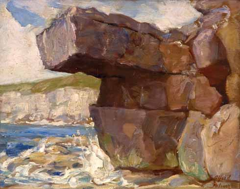 Loading Rock, 1940 Along with many other artists working in the area, Palmer responded to the quality of the Purbeck light in his landscapes. Here he has skillfully acknowledged the tonal subtleties of the stone and also convincingly captured the energy of the seascape. The loosely impressionistic painting creates a dramatic and powerful scene through the vivid colours of the natural rock contrasting with the agitated swirls of crashing waves. It is intriguing that Palmer was able to access this spot since during the war much of the coastal area would have been sealed off with barbed wire.