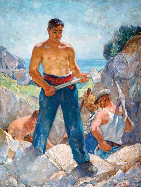 Men Working in Cliff Quarry, 1945  Sometimes the figures were set in bright sunlight against  a background of brilliant sky or the ever-present sea. As with The Bathers, Palmer's favoured composition consisted of a trio of men which endorsed the dramatic effect of their activities.