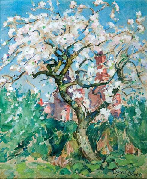 Apple Blossom, Swanage His considerable versatility is evident in this finished sketch of a twisted and gnarled apple tree which dominates the image. Its blossom bursts out in an explosion of white and pink colour and contrasts with the red brick of the house and chimney. Though owing a debt to Japanese prints it reveals Palmer's intimate and personal response to his Dorset surroundings in paint.