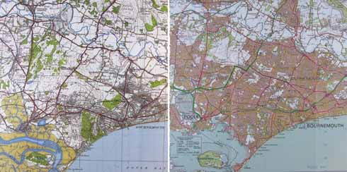 Ordnance Survey maps of Bournemouth and Poole from 1919 (top) and 2007 (bottom) showing the growth of the conurbation 