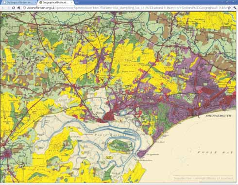 An internet display of the 1930s Land Utilization Survey – rough grazing is shown in yellow, arable in brown, woodland in solid green, grassland light green(hatched), densely built up land and other unproductive land (e.g. quarries) shown in red and houses with gardens shown in purple