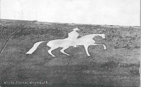 A more dapper White Horse from an Edwardian photograhic postcard owned by Mary Kempe and in the Osmington Archive