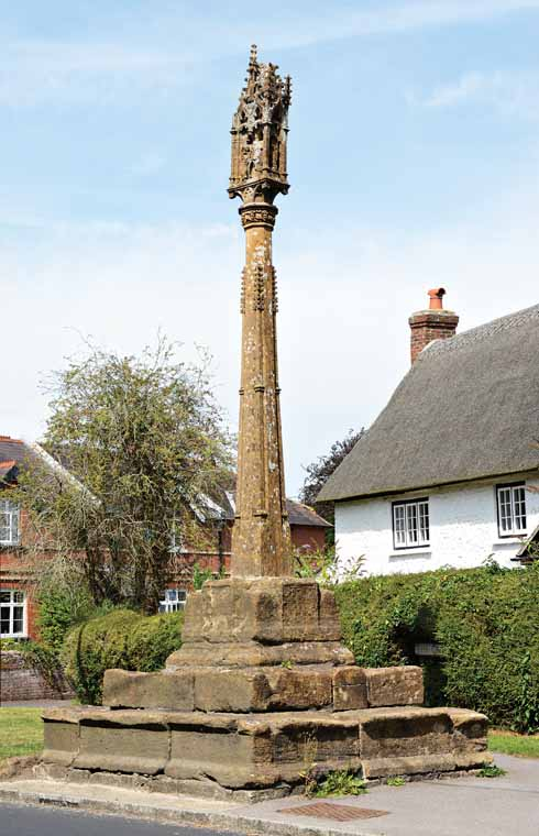 One of Shillingstone's two crosses; the base and cross were made centuries apart