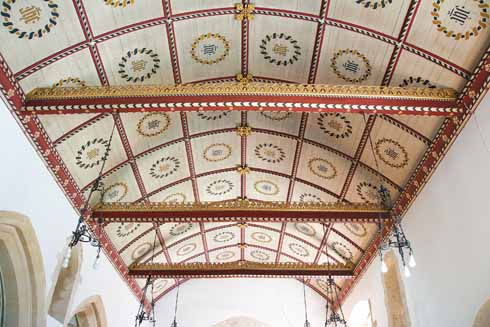 Shilingstone's Parish Church of the Holy Rood has a brightly decorated barrel ceiling