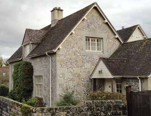 The Old School House, Tarrant Hinton shows another variation of mixed material building