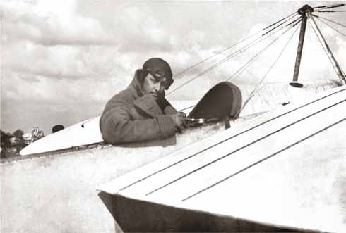 William Rhodes Moorhouse before the First World War, sitting in the cockpit of his delicate aircraft