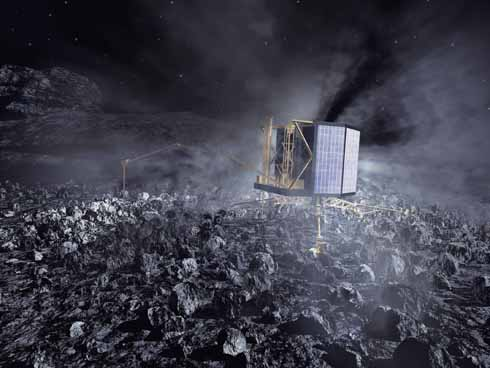 ❱ An artist's impression of the Philae lander on the comet nucleus