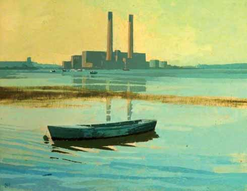 High Tide at Sterte by Dennis Hill showing the power station's once-iconic silhouette
