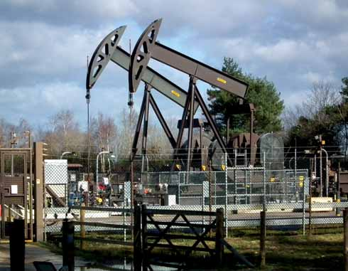 'Nodding Donkeys' pumping oil from the Wytch Farm oil field