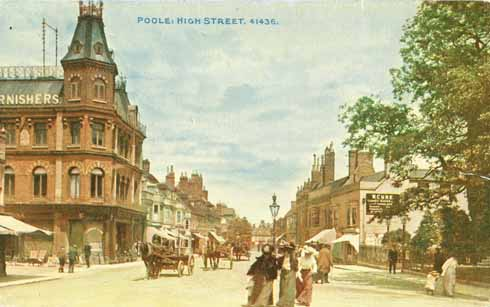 This hand-tinted shot of Poole shows horse and cart and pedestrians as the only road users
