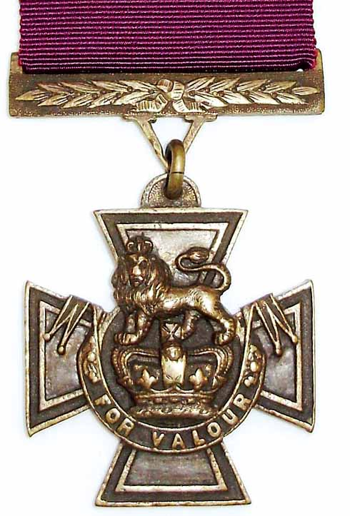 The Victoria Cross, the highest British military decoration for bravery in the presence of the enemy