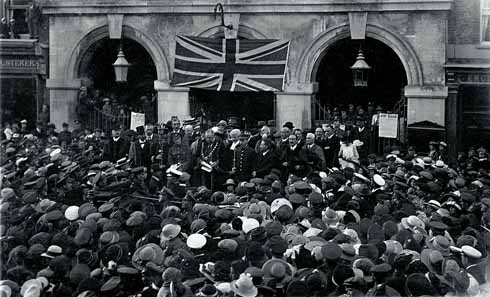 The reception in Blandford's Market Place for Jack Counter on 28 June 1918, the day after he was invested with the VC. Counter is to the left of the Mayor.