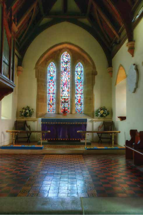 Inside the parish church of St Mary with its elaborate encaustic tiled floor