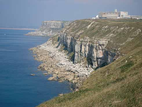 The impressive cliffs and the former torpedo research centre