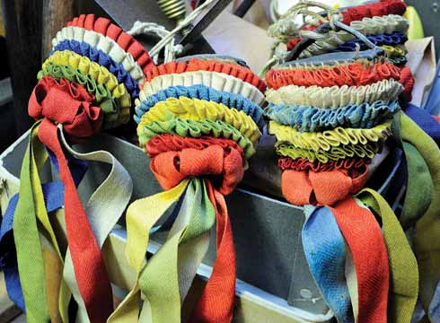 Horse tassels with true Dorset colours in the Social History store