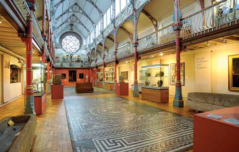 On the floor of the Victorian Hall is a Roman mosaic pavement from Durngate Street