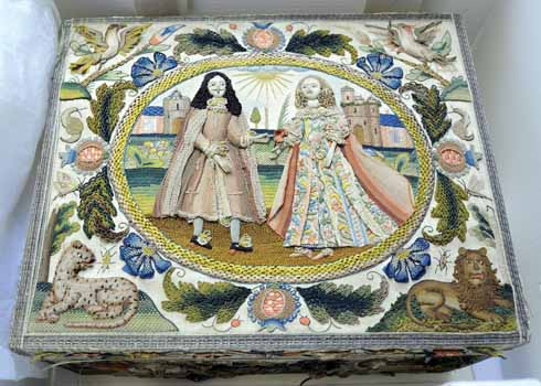 Bond 'stump-work' box embroidered with the figures of Charles II and Catherine of Braganza