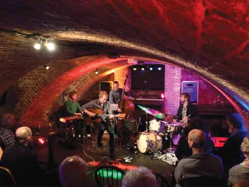 The Kristian Borring Quartet performing in the intimate atmosphere of the cellar of the Blue Boar