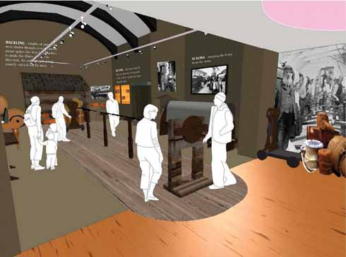 Artist's impression of the new rope and net gallery, with a working 'ropewalk' at its centre