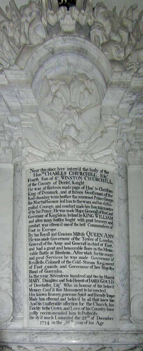 The impressive monument to Charles Churchill, brother to the Duke of Marlborough