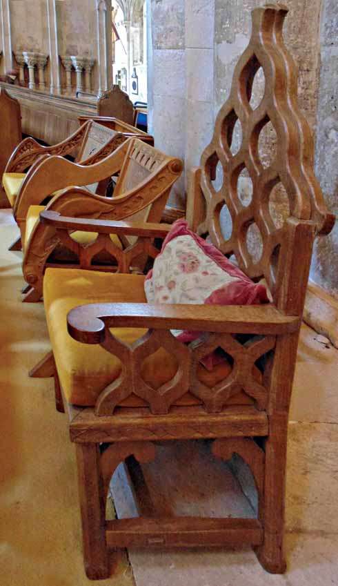 ARG's unmistakeable chunky geometric-design chairs in the Priory