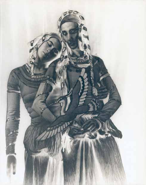 Helen's solarized picture of Hilda and Mary Spencer Watson in the play Jacob & Esau